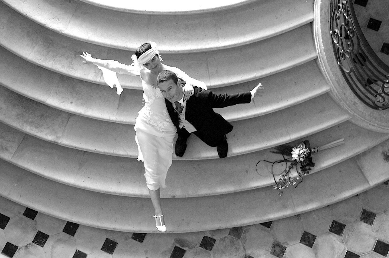 Prise de vue de haut, photo de couple artistique